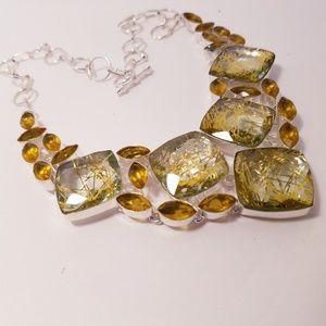 Lab rutilated quartz necklace